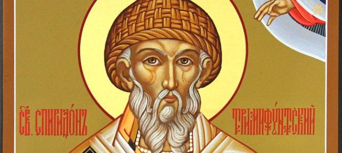 В день памяти Святителя Спиридона, епископа Тримифунтского, чудотворца, в кафедральном соборе совершены Богослужения